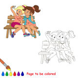 Vector friends girls with telephone make selfie. Vector cartoon character playing baby.Vector friends girls with telephone make selfie. Coloring book for Stock Photo