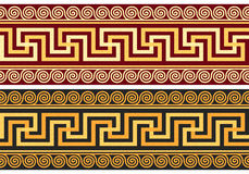 Vector frieze with Greek ornament (Meander). Set frieze with vintage golden and blue Greek ornament (Meander) and floral pattern on a red and black background Royalty Free Stock Photos