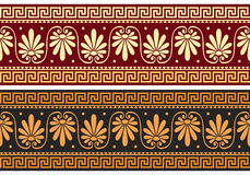 Vector frieze with Greek ornament (Meander). Set frieze with vintage golden and blue Greek ornament (Meander) and floral pattern on a red and black background Royalty Free Stock Photography