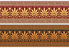 Vector frieze with Greek ornament (Meander). Set frieze with vintage golden and blue Greek ornament (Meander) and floral pattern on a red and black background Royalty Free Stock Image