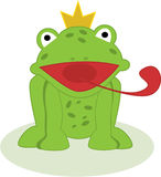 Vector frog prince. Illustration of frog prince with his tongue out Stock Image