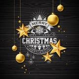 Vector frohe Weihnacht-Illustration auf Weinlese hölzernem Hintergrund mit Typografie-und Feiertags-Elementen Sterne und Lizenzfreie Stockfotos