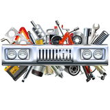 Vector Front Car Part with Spares Stock Photography