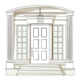 Vector front door from traditional luxury house. Vector classic white front door with small windows from traditional luxury house royalty free illustration