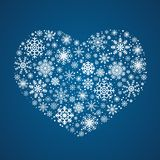 Vector frosty snowflakes in heart shape Royalty Free Stock Images
