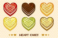 Fruit and chocolate cakes in the form of heart. Vector fruit and chocolate cakes in the form of heart Royalty Free Stock Photography