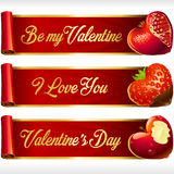 Vector Fruit Hearts and Red Ribbons horizontal Banners set Stock Photography