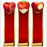 Vector Fruit Hearts and Red Ribbons vertical Banners set. Cute Fruit Hearts and Red Ribbons vertical Banners set. Juicy Pomegranate, Strawberry and Cream, and Royalty Free Stock Images
