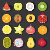 Vector fruit icon set Royalty Free Stock Photography