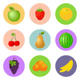 Vector fruit icon set Stock Image