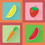 Vector fruit icon set Royalty Free Stock Photo