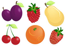 Vector-fruit-icons-set-glossy-vector-set Stock Photos