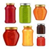 Vector realistic fruit jam jar icon set. Vector fruit jam jar icon set. Delicious strawberry, peach, raspberry preserves, etc. Jam jar packaging collection Royalty Free Stock Image