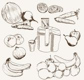 Vector fruit juice set sketch Stock Photos