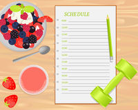 Vector fruit salad, strawberry juice, weight and notebook on wood background. Vector fruit salad, strawberry juice, weight and notebook with schedule on wood royalty free illustration