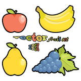 Vector fruit set. Apple, pear, grapes, bananas on white background Stock Image