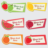 Vector fruit sticker set Royalty Free Stock Photo