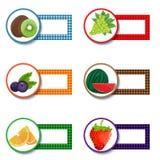 Vector fruit sticker set Royalty Free Stock Photo