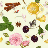 Vector fruit tea seamless pattern Stock Photos