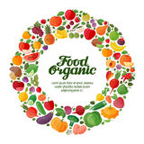Vector fruit and vegetable icons. organic food Stock Images