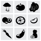 Vector Fruit and Vegetables icon set Royalty Free Stock Images