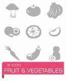 Vector Fruit and Vegetables icon set Stock Photography