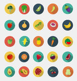 Vector fruit and vegetables icons flat design Stock Photography