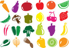 Vector fruit and vegetables icons. Royalty Free Stock Image