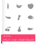 Vector fruit and vegetables icons set Stock Photo