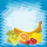 Vector fruits on abstract background. Vector fruits on abstract mosaic background Royalty Free Stock Photography