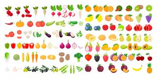 Free Vector Fruits And Vegetables Icon Set Isolated On White Background. Vector Illustration Royalty Free Stock Photography - 162974477