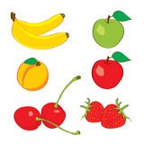 Vector fruits cherry, banana, apple, strawberry pe Royalty Free Stock Photo