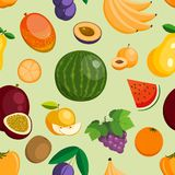Vector fruits exotic apple, banana and papaya flat style illustration. Fresh fruity slices tropical dragonfruit or juicy Stock Images