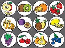 Vector fruits icon set Royalty Free Stock Photography