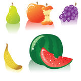 Vector fruits icon set. The set of tasty fruits and berries icons. Also available in vector Royalty Free Stock Photo