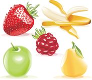 Vector fruits icon set Royalty Free Stock Image