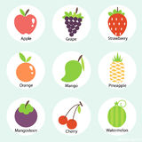 Vector fruits icon set on blue background. Royalty Free Stock Images
