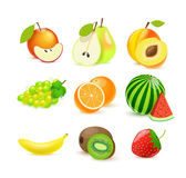 Vector fruits icons eps 10 isolated on white. Illustartion of vector fruits icons eps 10 isolated on white Royalty Free Stock Images