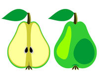 Vector fruits illustration. Detailed icons of pears, whole and half, isolated over white background. Stock Photography