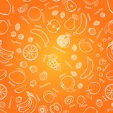 Vector fruits pattern. Fruits seamless background Stock Photos