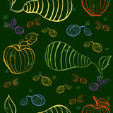 Vector fruits pattern. Fruits seamless background Royalty Free Stock Images