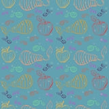 Vector fruits pattern. Fruits seamless background Stock Photo