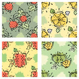 Vector fruits seamless pattern Strawberry, berry, apple, pomegranate, lemon with leaves Stock Photos