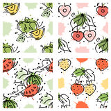 Vector fruits seamless pattern. Watermelon, apple, strawberry, cherry with leaves, blots, drops, splash Hand drawn contour lines a Stock Photo
