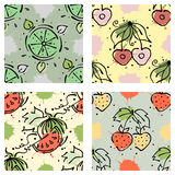Vector fruits seamless pattern. Watermelon, cherry, strawberry, berry with leaves Stock Photography