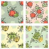 Vector fruits seamless pattern. Watermelon, strawberry, berry, apple, pear with leaves, blots, drops splash Hand drawn contour lin Royalty Free Stock Photo