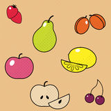 Vector Fruits Set. Pattern Texture. Royalty Free Stock Photography