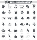 Vector Fruits and vegetables black icon set. Dark grey classic icon design for web. Stock Images