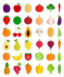 Vector Fruits and Vegetables Icons Royalty Free Stock Photos