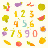 Vector fruits and vegetables numerals for kids Royalty Free Stock Photos